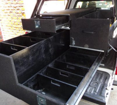 Tradespeople should install a storage unit in their van or ute. Image Description: A custom storage unit or drawer offers a great deal of benefits to tradespeople working in the field. It allows them to store and organize their tools and equipment more efficiently.