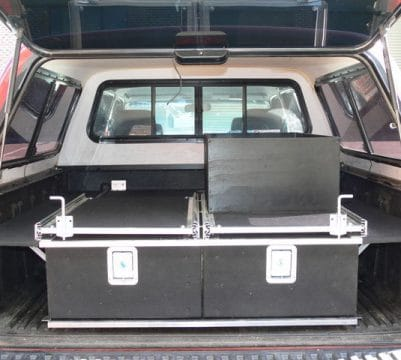 Tradies Ute with two slide out workbenches and toolbox