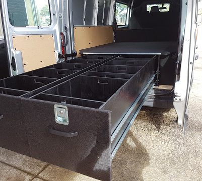 A van equipped with a storage unit designed by Australia's top manufacturer
