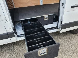 two van side drawers with dividers